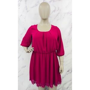 My Michelle Magenta Scoop Neck Sheath Knee Length Dress Lace Trim